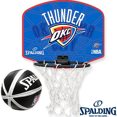 NBAオクラホマシティサンダー 壁掛け室内用ミニバスケットゴール ビニールミニボールセット スポルディング77-633Z