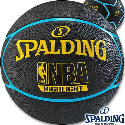 SPALDING星形ネオンハイライト ブルーイエロー 外用バスケットボール7号 ラバー スポルディング83-198Z