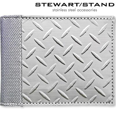 スチュワートスタンド 二つ折りステンレス財布 ダイヤモンド柄 STEWART STAND BF3701-SVR