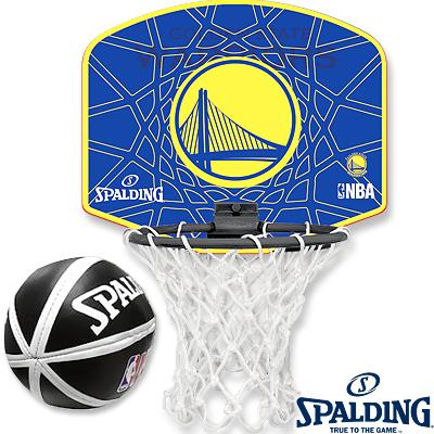 NBAウォリアーズ 壁掛け室内用バスケットゴール ミニビニールボールセット スポルディング77-642Z