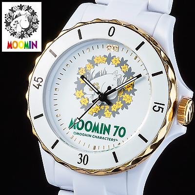 70周年記念ムーミン腕時計 記念ロゴ ハイブリッド セラミックウォッチ ホワイト