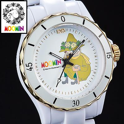70周年記念ムーミン腕時計 スナフキン ハイブリッド セラミックウォッチ ホワイト