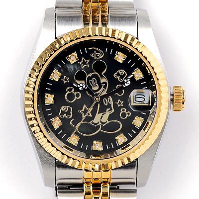 ミッキー時計85周年記念 天然ダイヤ10石ウォッチ ブラック