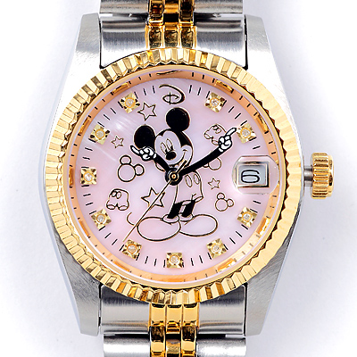 ミッキー時計85周年記念 天然ダイヤ10石ウォッチ ピンク