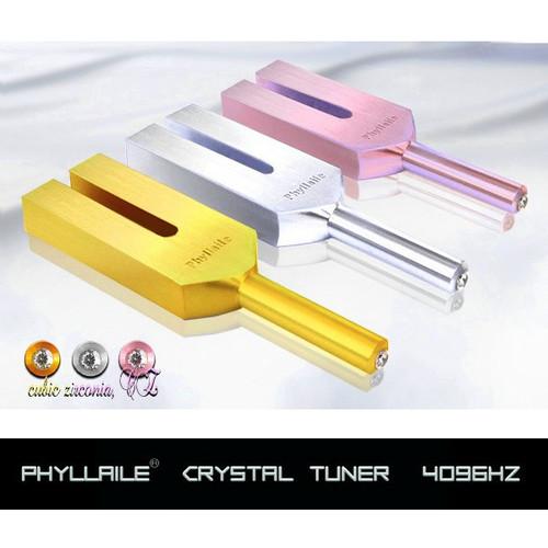 Phyllaileクリスタルチューナー音叉 4096HZ 水晶ポイント原石付き