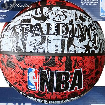 SPALDING バスケットボール7号 壁画柄グラフィティ レッド ラバー スポルディング83-574Z