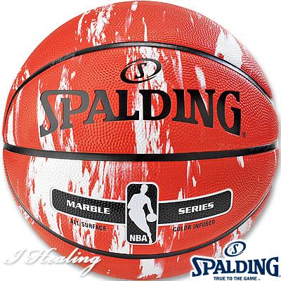 SPALDING バスケットボール7号 マーブルコレクション レッド 大理石柄 ラバー スポルディング83-634Z