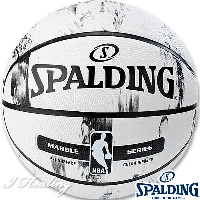 SPALDING バスケットボール7号 マーブルコレクション ホワイト 大理石柄 ラバー スポルディング83-635Z