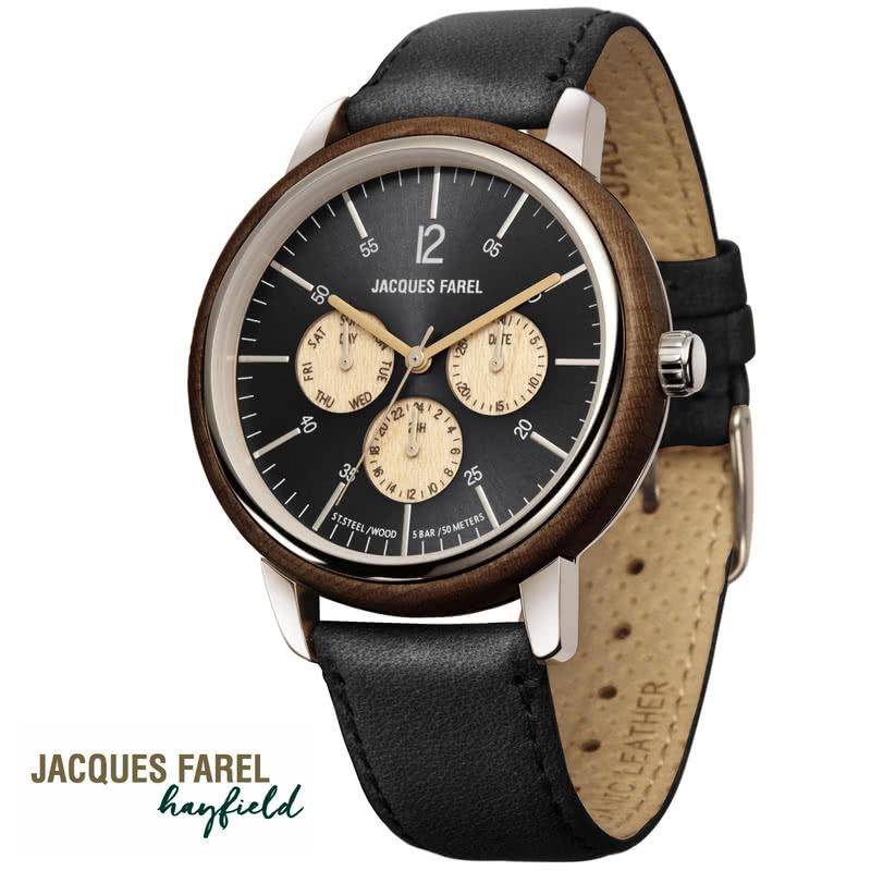 JACQUES FAREL ジャックスファレル ブラック ORM2002 多機能腕時計 日本正規販売店
