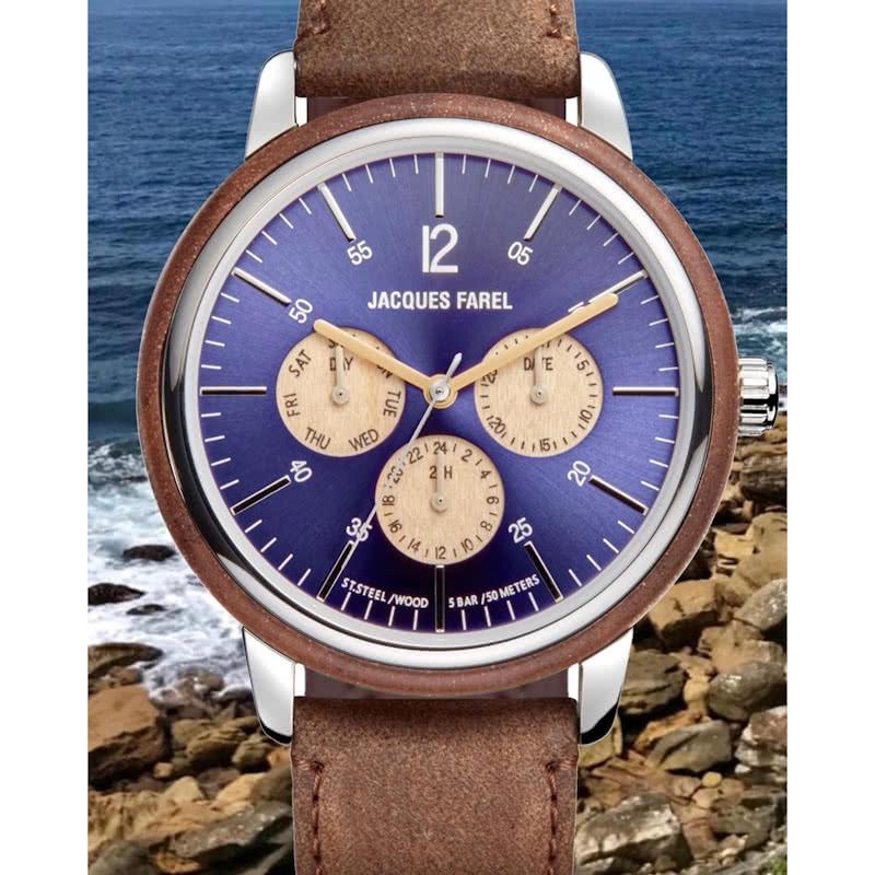 JACQUES FAREL ジャックスファレル ネイビー ORM2005 多機能腕時計 日本正規販売店