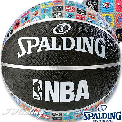 SPALDING ミニバス バスケットボール5号 NBAアイコンボール ブラック 小学校 子供用 ラバー スポルディング83-772J