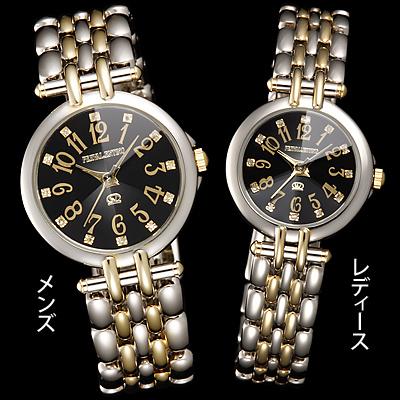 ペレバレンチノ 天然ダイヤモンドカット腕時計 コンビ