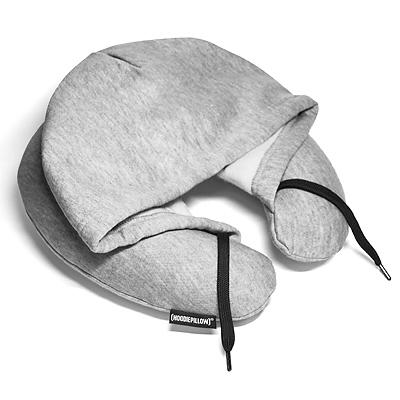 トラベル フーディ スウェット生地フード付ネックピロー グレー 旅行 首枕