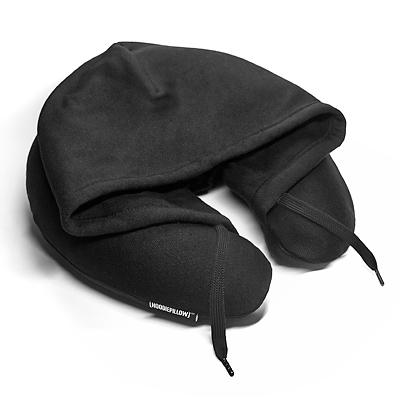 トラベル フーディ スウェット生地フード付ネックピロー ブラック 旅行 首枕