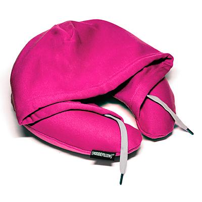 トラベル フーディ スウェット生地フード付ネックピロー ピンク 旅行 首枕