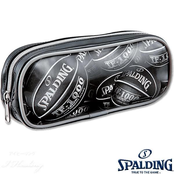 SPALDING プリントペンケース ブラック 筆箱 筆入れ バスケットボール グッズ スポルディングSPF130B