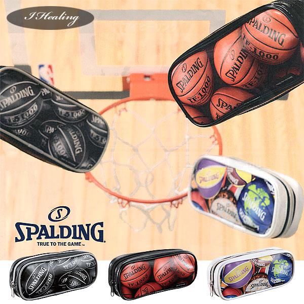 SPALDING プリントペンケース オレンジ 筆箱 筆入れ バスケットボール グッズ スポルディングSPF130D