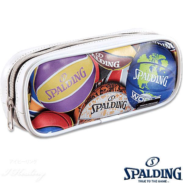 SPALDING プリントペンケース ホワイト 筆箱 筆入れ バスケットボール グッズ スポルディングSPF130W