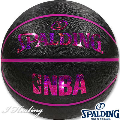 SPALDING ミニバス バスケットボール5号 キラキラ ホログラム ブラックレッド 小学校 子供用 ラバー スポルディング83-795J