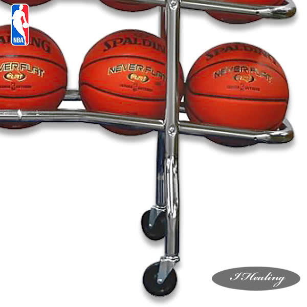 NBA SPALDING ボールラック バスケットボール15個収納 鉄製 車輪付 スポルディング68-452