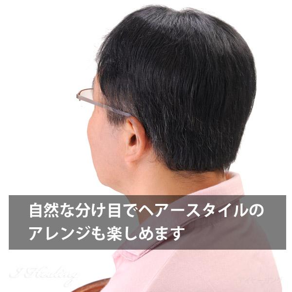 男性用 紳士用ヘアピース 自然な部分かつら 暗め自然色 人工地肌付 HPN-150