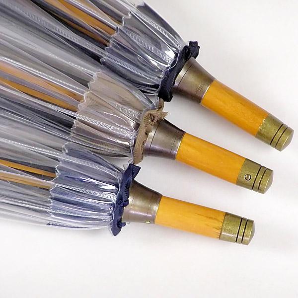 ホワイトローズ雨傘 かてーる16桜BK ブラック 天然木製ハンドル ビニール傘 長傘16本骨傘 男女兼用 日本製 杉綾織袋セット