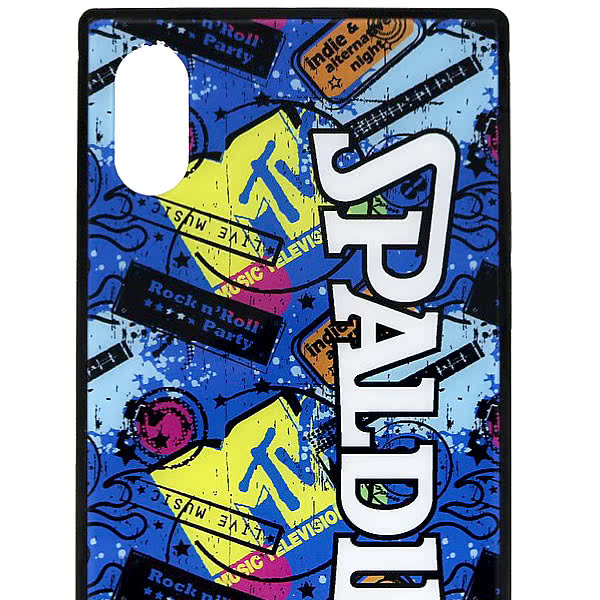 スポルディング バスケ iPhoneケース XS X用 スクエアガラス MTVギター 11-011GU 軽量アイフォンケース SPALDING