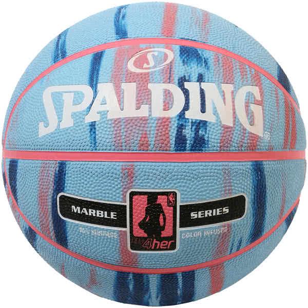 スポルディング 女性用 バスケットボール 6号 フォーハー マーブル ブルー ピンク 大理石柄 バスケ 83-879Z ゴム 外用ラバー SPALDING