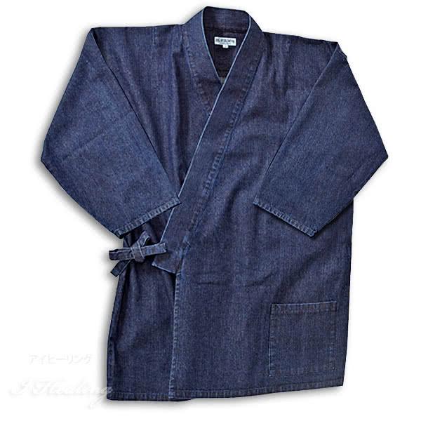 逸品倶楽部 デニム作務衣 メンズ IM-590S 小さいサイズ 上下セット 部屋着 インディゴブルー色 綿 井原デニム 日本製
