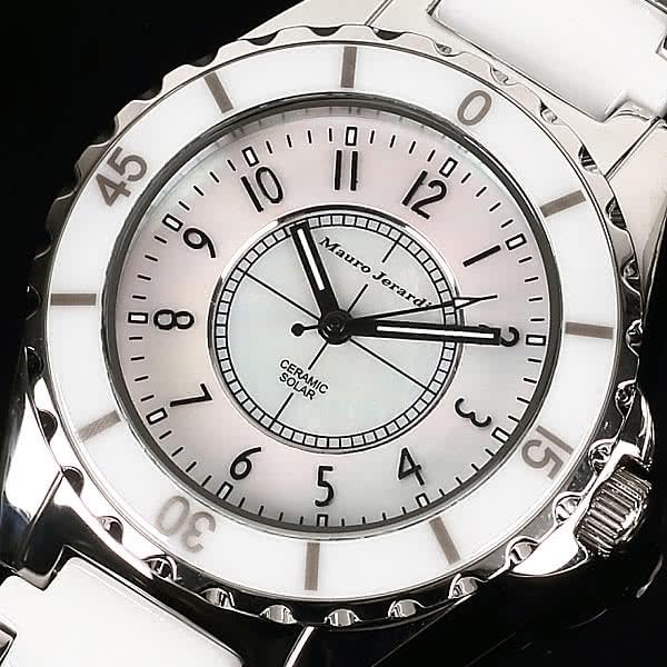 Mauro Jerardi セラミック ソーラー腕時計 メンズ ホワイト アナログ 3気圧防水 マウロジェラルディ MJ041-2