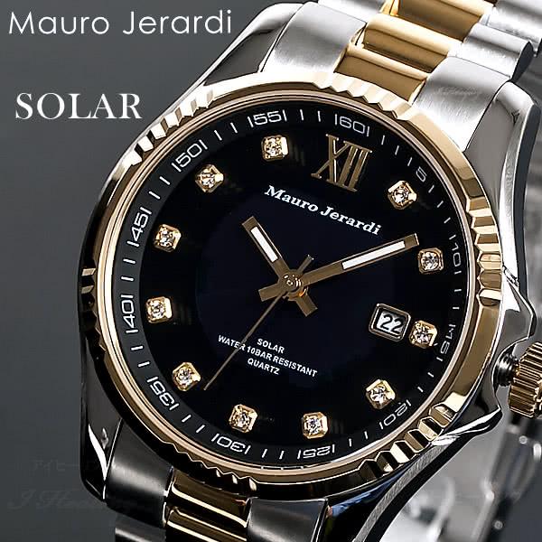 Mauro Jerardi ソーラー腕時計 ウォッチ コンビ メンズ ブラックゴールド アナログ 10気圧防水 日付表示 マウロジェラルディ MJ037-2