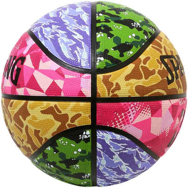 スポルディング バスケットボール 7号 ミックスカモ バスケ 84-196J ゴム 外用ラバー SPALDING