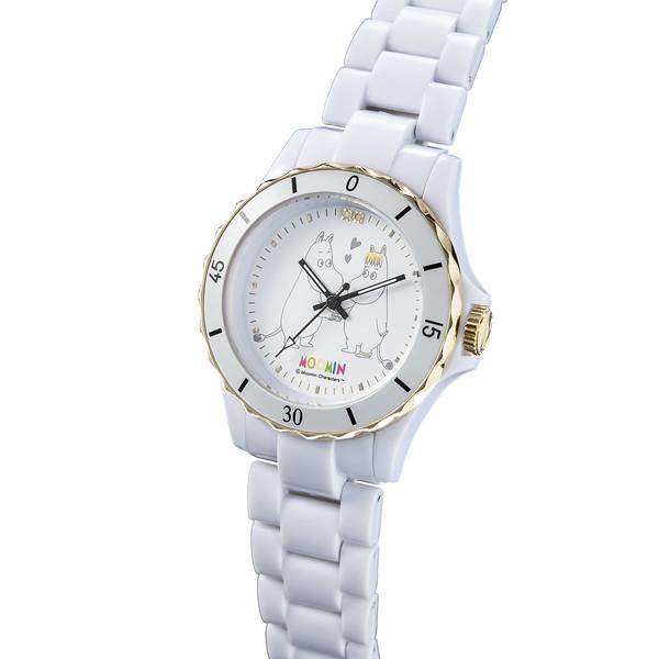 70周年記念ムーミン腕時計 ムーミンとフローレンス ハイブリッド セラミックウォッチ ホワイト
