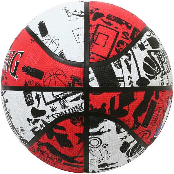 スポルディング ミニバス バスケットボール 5号 壁画柄グラフィティ レッド ホワイト バスケ 84-194J 小学校 子供用 ゴム 外用ラバー SPALDING
