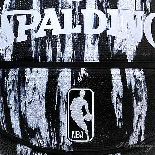 スポルディング バスケットボール 7号 NBAロゴ マーブル ブラック バスケ 84-093J ゴム 外用ラバー SPALDING