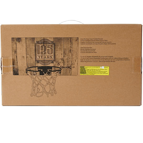 SPALDING ドア用バスケットゴール 125周年スラムジャム バックボード インテリア 木目調ウッドプリント バスケットボール 26.6cmポリカーボネイト 室内 設置 スポルディング56109CN