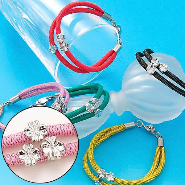静電気除電 2連トリプルクローバーブレス 四つ葉のクローバー ブレスレット レディース アクセサリー 日本製