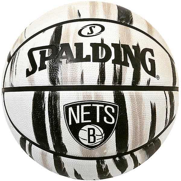 スポルディング バスケットボール 7号 NBAブルックリン ネッツ マーブル ホワイト バスケ 84-126Z ゴム 外用ラバー SPALDING