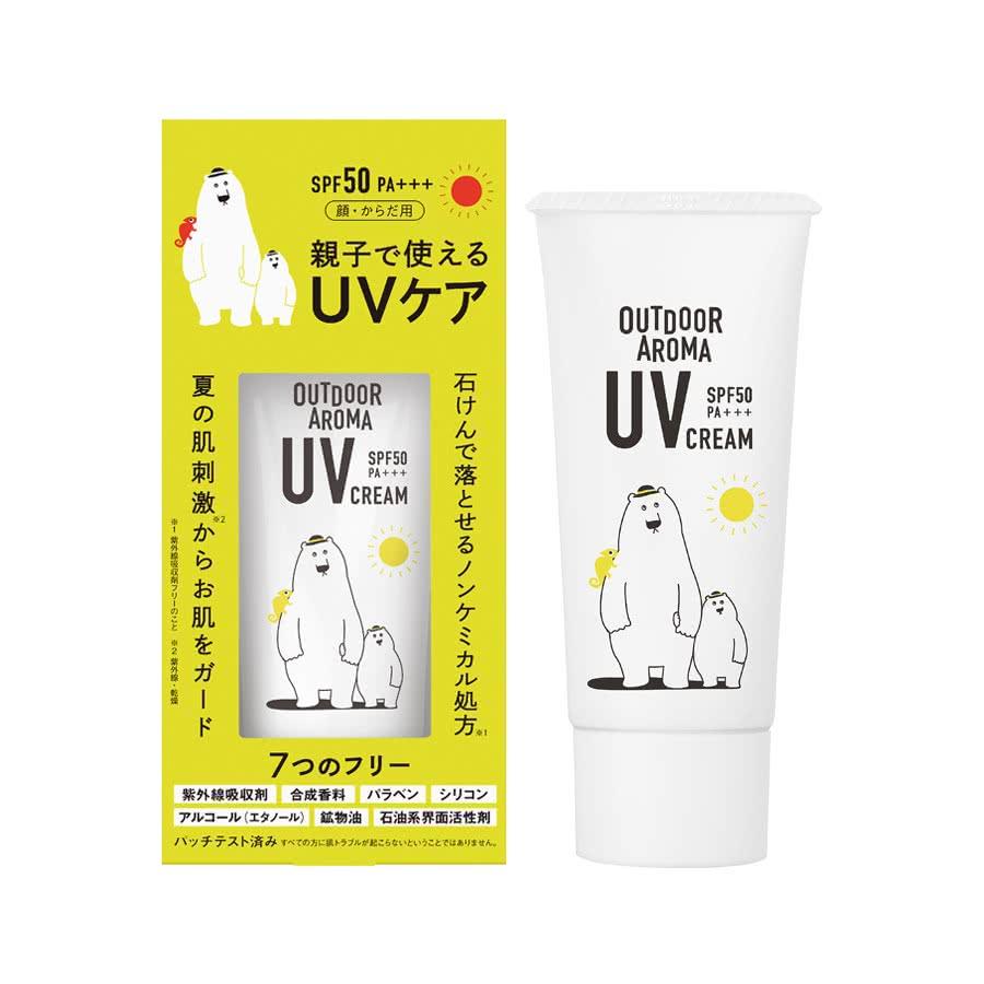 白くまアウトドア UVクリーム SPF50 PA+++ ノンケミカル 日焼け止めクリーム 親子で使えるUVケア