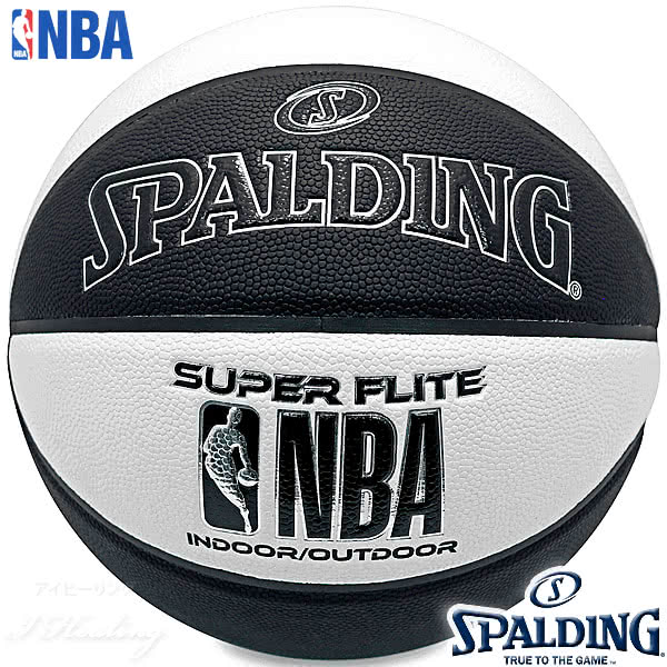 SPALDING SUPER FLITE バスケットボール7号 スーパーフライト ブラック ホワイト 合成皮革 NBAロゴ スポルディング76-351Z
