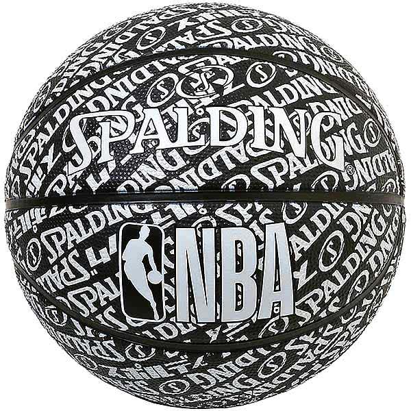スポルディング バスケットボール 7号 タイポグラフィー ブラック バスケ 84-074J ゴム 外用ラバー NBAロゴ SPALDING