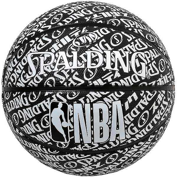スポルディング ミニバス バスケットボール 5号 タイポグラフィー ブラック バスケ 84-075J 小学校 子供用 ゴム 外用ラバー NBAロゴ SPALDING