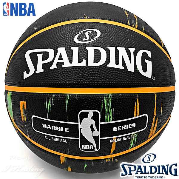 SPALDING バスケットボール7号 マーブル オレンジ グリーン 大理石柄 ラバー スポルディング83-882Z