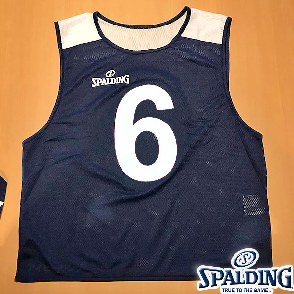 バスケットボール ビブス 6枚セット ネイビー ゼッケン番号6-11 スポルディング メッシュ吸汗速乾素材 SPALDING SUB130720-NAVY