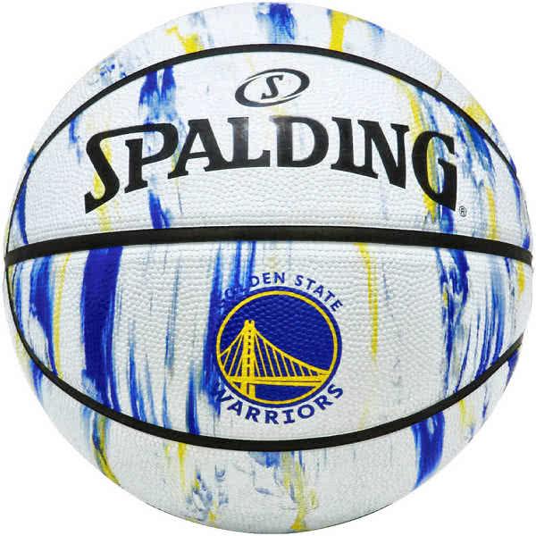 スポルディング ミニバス バスケットボール 5号 ウォリアーズ マーブル ホワイト バスケ 84-305J 小学校 子供用 ゴム 外用ラバー SPALDING