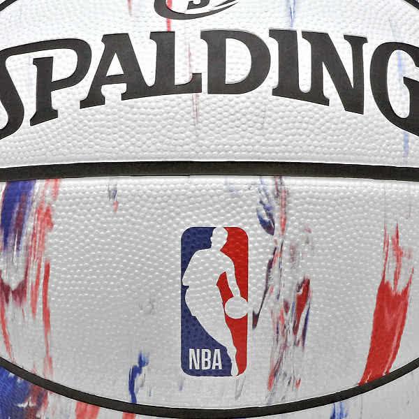 スポルディング 女性用 バスケットボール 6号 NBAロゴ マーブル ホワイト バスケ 84-312J ゴム 外用ラバー SPALDING