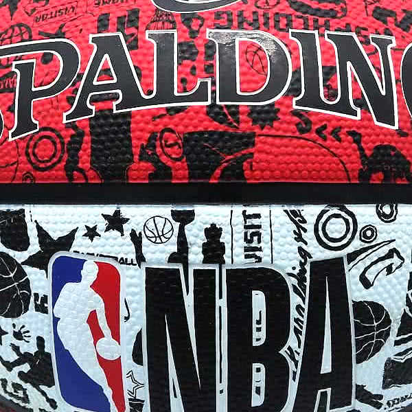 スポルディング 女性用 バスケットボール 6号 壁画柄グラフィティ レッド ホワイト バスケ 84-310J ゴム 外用ラバー SPALDING