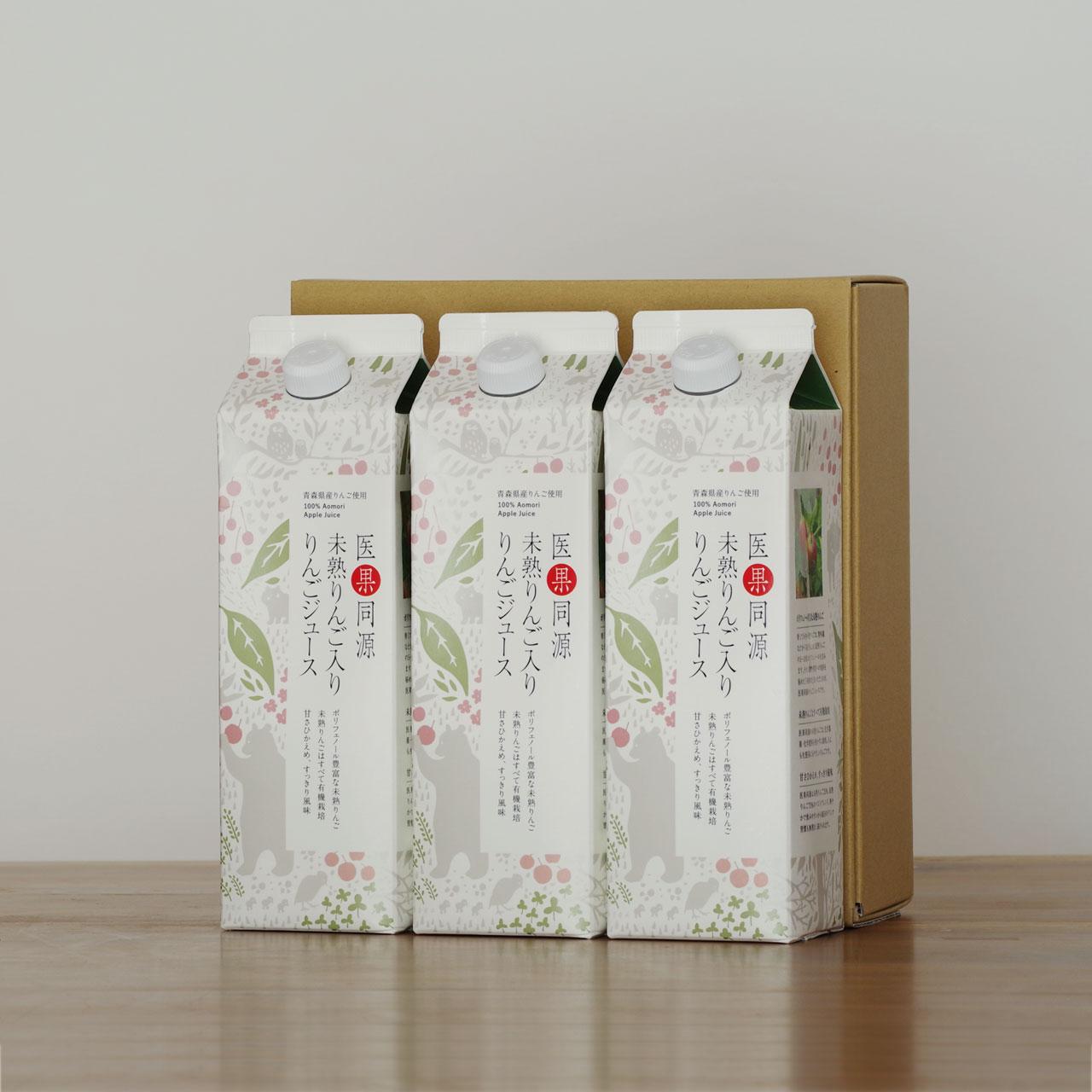 紙パック3本入り 医果同源未熟りんご入りりんごジュース
