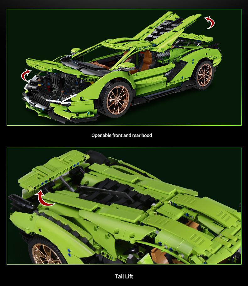 レゴ テクニック 互換品 ランボルギーニ シアン FKP37 デザイン グリーン スーパーカー スポーツカー レースカー 42115 プレゼント クリスマス レースカー 車 おもちゃ ブロック 知育玩具 入学 お祝い こどもの日