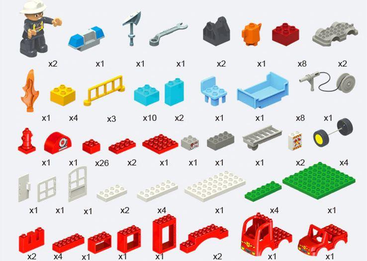 デュプロのまち 互換 ファイヤーステーション 消防署 消防車 はしご車 救命艇 消防ボート 立体パズル 知育玩具 早期教育 STEM 論理的思考